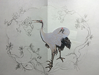 Drawing of Stork in the Oriental style